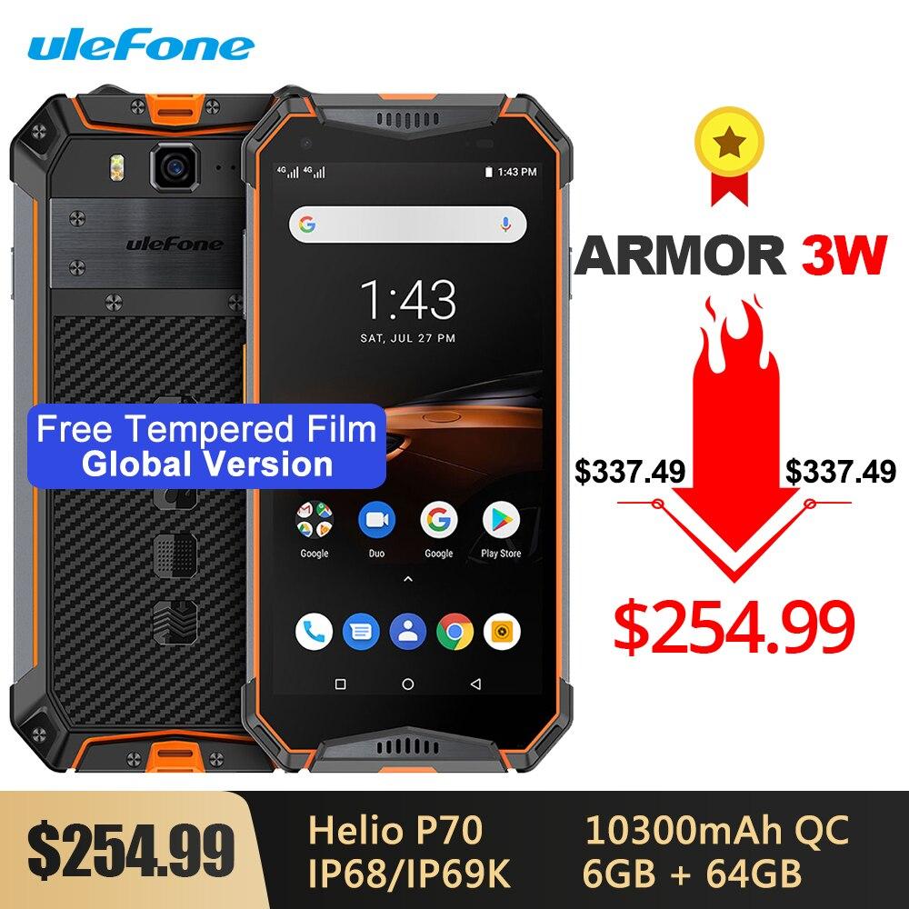 Ulefone Armor 3W Global Version IP68 Waterproof Rugged Phone 10300mAh Android 9.0 Helio P70 6G+64G 21MP Camera NFC 4G Smartphone