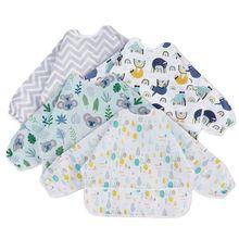 Baby Bibs Baby Waterproof Full Sleeve Bibs Cartoon Animal Child Long Sleeve eating tools Apron Coverall Feeding Bibs