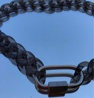 FishSheep новая акриловая черная цепочка с подвеской замок ожерелье для мужчин женщин хип-хоп Длинная цепочка с пряжкой ожерелье 2021 модные ювел...