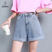 5xl basic blue three button ladies denim shorts adjustable waist roll up sexy jeans shorts 2021 summer new wide leg casual cloth