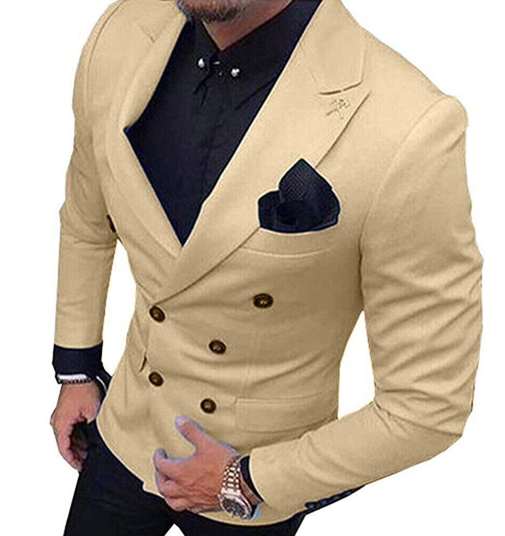 2020 New Champagne Men's Blazer Suit Jacket 1 Pieces Double-Breasted Notch Lapel Blazer Jacket For Weeding Party (Only Jacket) notch collar pleated panel blazer