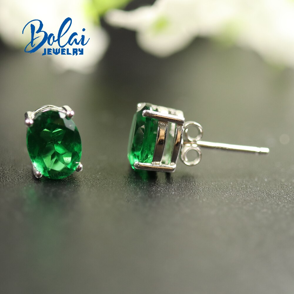 Bolaijewelry, criado verde esmeralda brinco oval 6*8mm 925 prata esterlina jóias finas, design simples, para mulher melhor presente