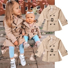 Girls Jacket Children's Double-breasted Lapel Trench Long Sleeve Coat Kids Winter Trench With Belt C