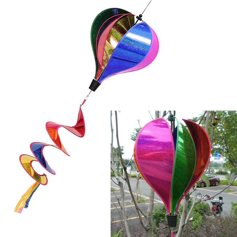 Arco Iris novedoso globo de aire lentejuelas Windsock rayas viento Spinner decoración al aire libre