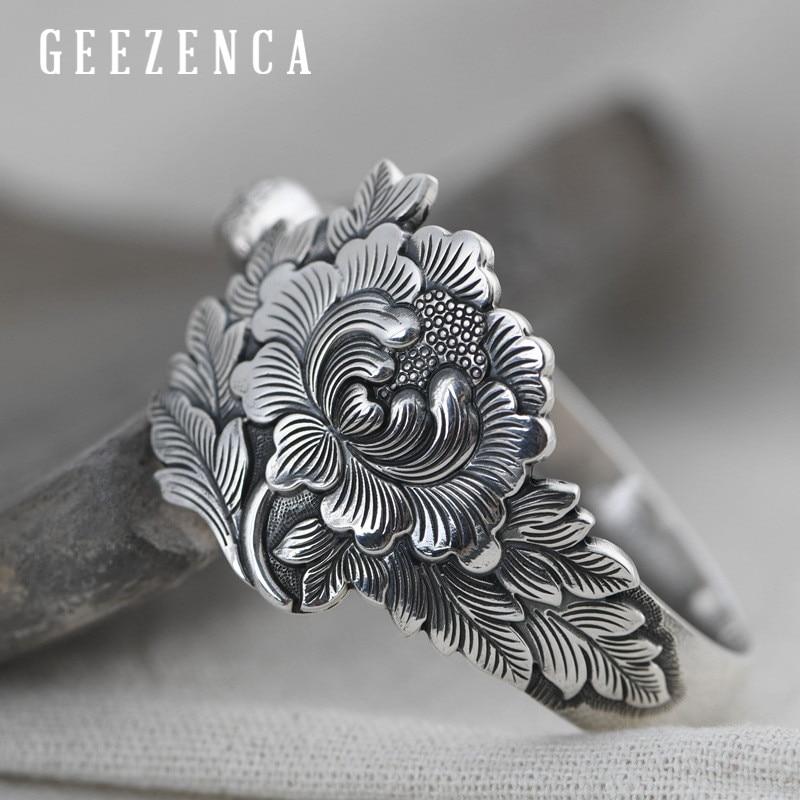 Solid 999 Sterling Silver Peony Flower Bangles For Women Vintage Ethnic Bohemia Open Bracelet Bangle Handmade Fine Jewelry Gift