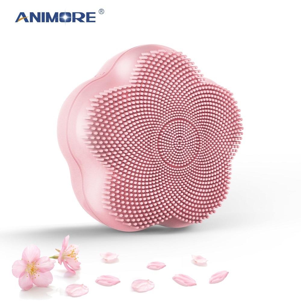 Cepillo de limpieza Facial de rotación magnético de silicona con cuentas ANIMORE, limpieza profunda de cara, Spa, recargable, limpiador Facial impermeable