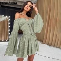off shoulder vintage elegant pleated dress women 2021 autumn flare sleeve dot print short dresses casual loose holiday street