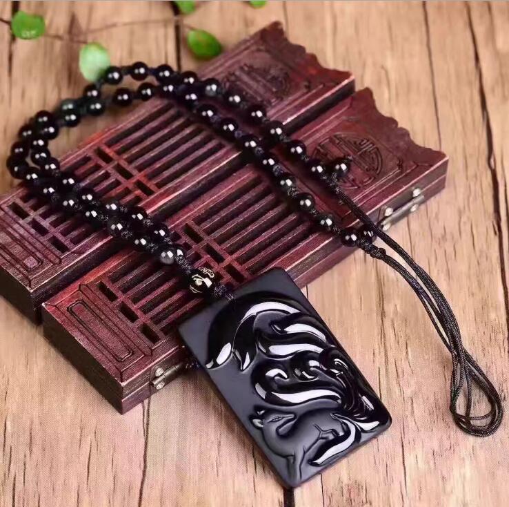 Preto Obsidian Natural Nove-tailed Fox Pingente de Pérolas Colar de Moda Charme Jóias Mão-Esculpido Amuleto Presentes para Ela dos Homens das mulheres
