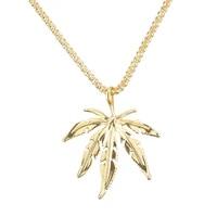 men maple leaf pendant necklace punk hip hop long chain trend gold silver color hemp leaf leaves necklace jewelry accessories