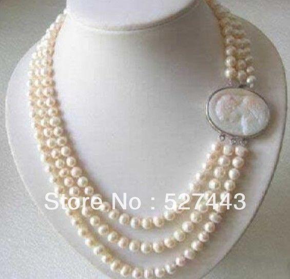 Großhandel freies verschiffen>> Genuine 3 Reihen 7-8MM Süßwasser perlenkette Cameo Schließe