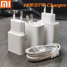 Original xiaomi carregador 27 w 18 carga rápida 3.0 4.0 eua ue adaptador tipo c cabo para xiaomi mi9 pro se 8 6 redmi nota 7 8 k20 pro