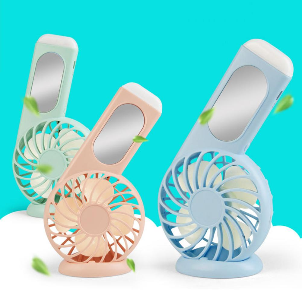 Hot Mini Portable Handheld Makeup Mirror 3 Wind Speed USB Charging Electric Fan