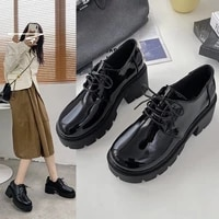 british style small leather shoes women increase 2021 new college style wild autumn thick bottom sponge cake shoes x864