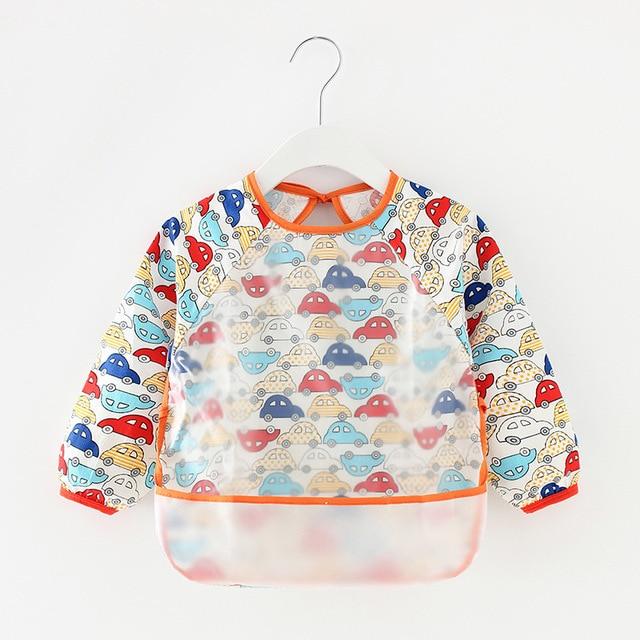 Baby Kids Toddler Long Sleeve Scarf Waterproof Art Smock Feeding Bib Apron Pocket Infant Boys Girls Burp Cloth Banana Bibs 2