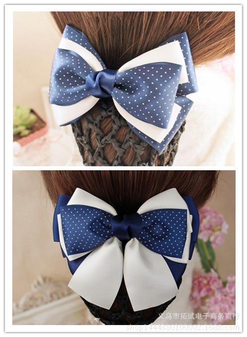 Women's professional hair clips female hair accessories hair net bow bank hotel nurse staff hair net handmade ribbon gift FS050