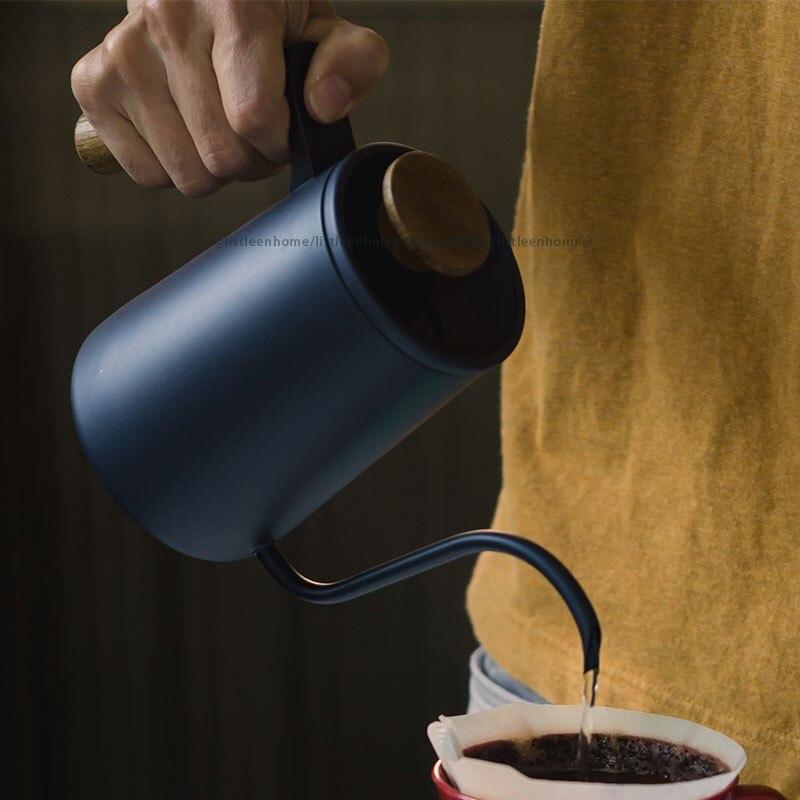 تدفق الهواء الفولاذ المقاوم للصدأ اليد يخمر إبريق قهوة سوان الرقبة الشاي الفم الطويل صب أكثر من غلاية بالتنقيط موقد علوي ضيق صنبور المرجل