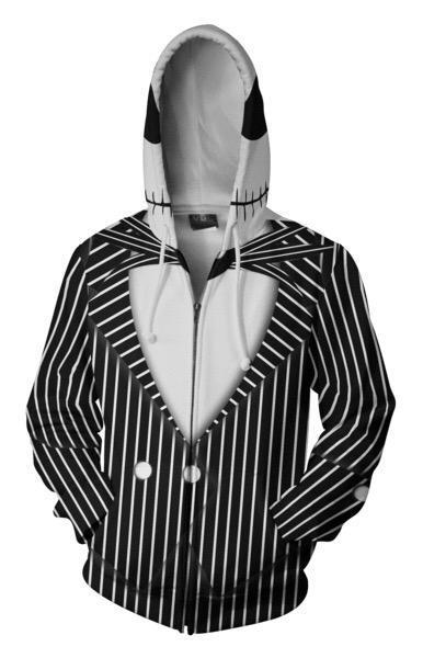 ZOOTOP BEAR 2020 Sudadera con capucha para hombres Jack Skellington 3D sudaderas con capucha impresas Casual de entrenamiento con cremallera Sudadera con capucha hip hop tops Dropship