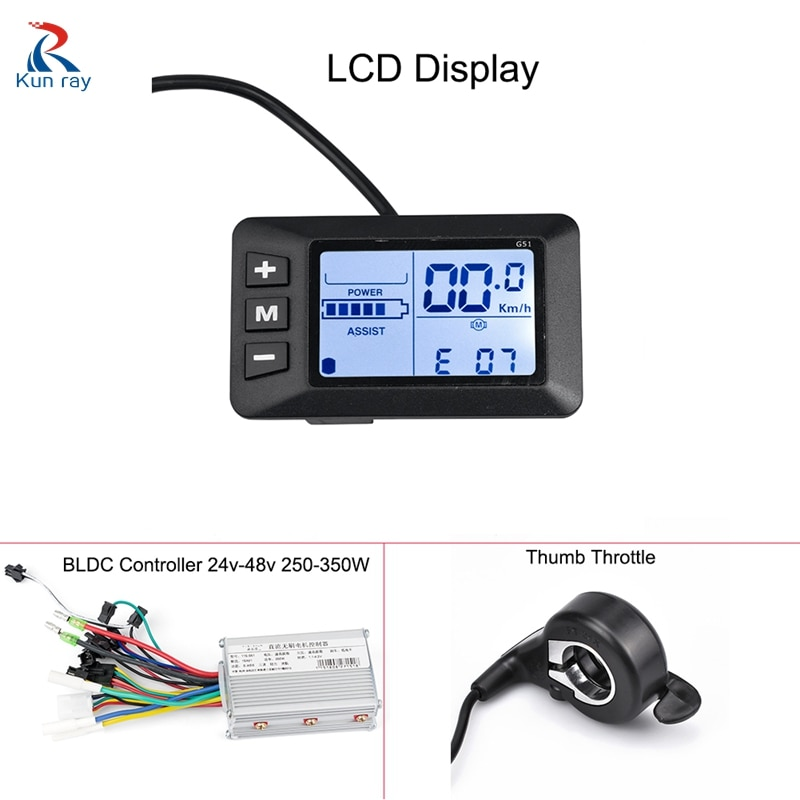 KUNRAY EBike Controller 48V LCD E Bike Display Speed Controller For Brushless Motors 24V 36V 350W 500W Bicycle Conversion Kits