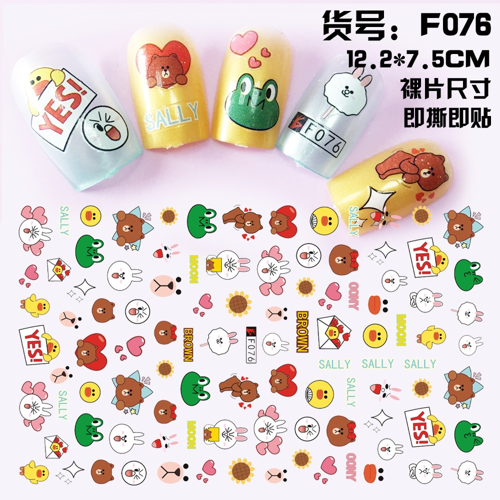 Anime Frog Rabbit adhesive 3d nail sticker foil for nails art decoration cute cartoon designs nail decals manicure supplies tool
