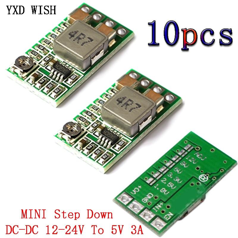 10 pces ultra pequeno tamanho dc dc step down power module 3a 5v conversor buck ajustavel