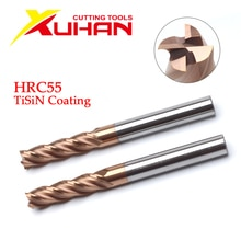 HRC55คาร์ไบด์ End Mill 1 2 4 5 6 8 10 12มม.4ขลุ่ยเครื่องตัดโลหะผสมเคลือบทังสเตนเครื่องมือตัดเหล็ก CNC Maching Endmills