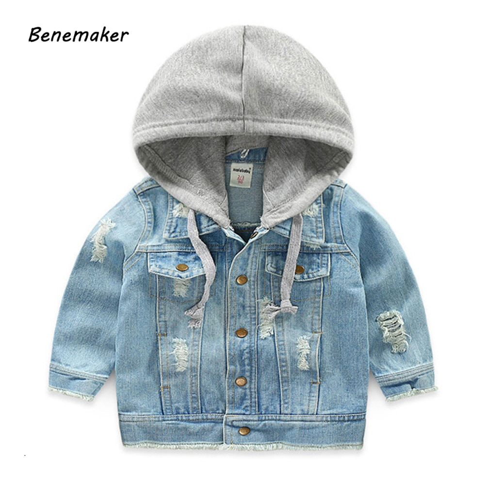 Benemaker Denim Jackets For Boys Autumn Trench Children's Clothing 3-8Y Hooded Outerwear Windbreaker Baby Kids Jeans Coats JH021