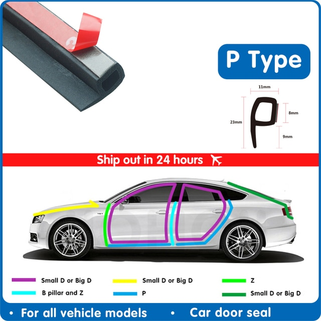 P Тип 1 8 м резиновая уплотнительная лента для автомобильной двери, шумоизоляция, уплотнительная лента для автомобильной двери, уплотнительная лента, резиновая противопыльная Автомобильная уплотнительная лента для дверей