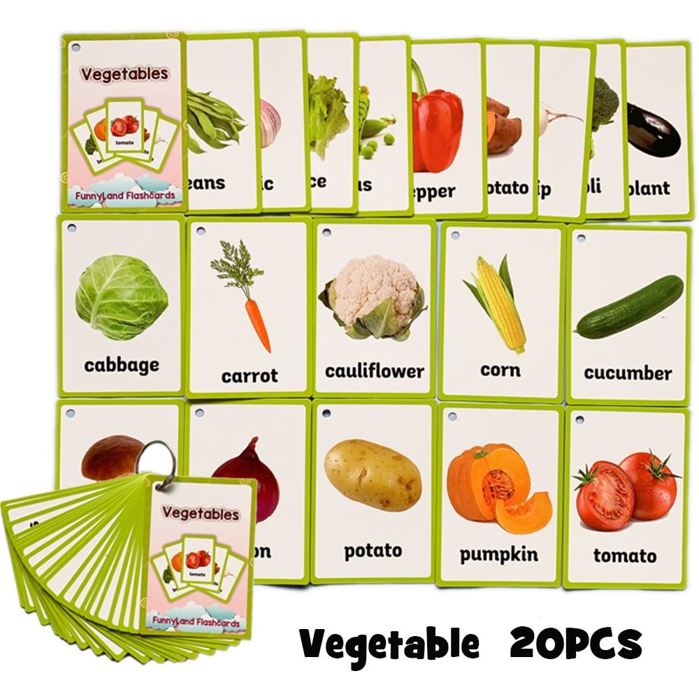 20 pièces/ensemble légumes Fruits anglais apprentissage mot carte anglais apprentissage carte éducation précoce jeu pour enfants mot poche carte