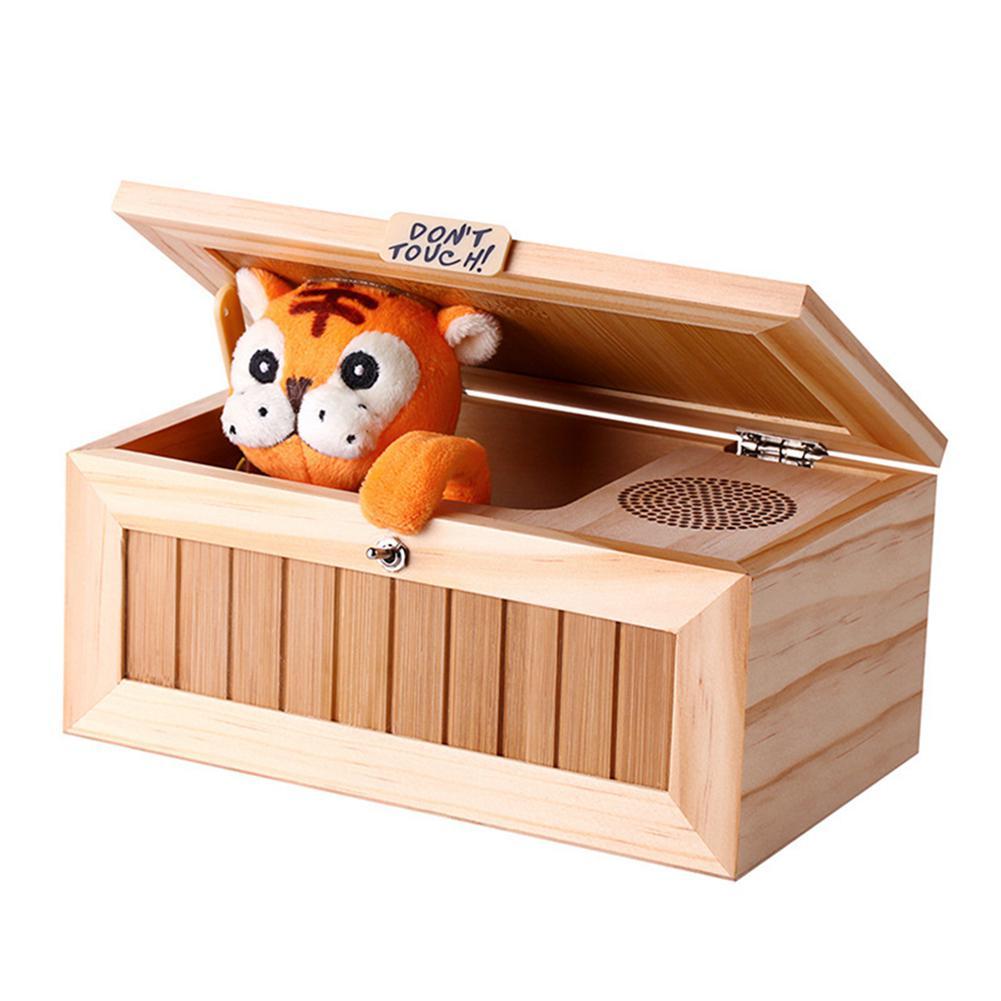 Caixa inútil eletrônica de madeira tigre bonito brinquedo engraçado presente para o menino e crianças brinquedos interativos decoração de mesa de redução de estresse