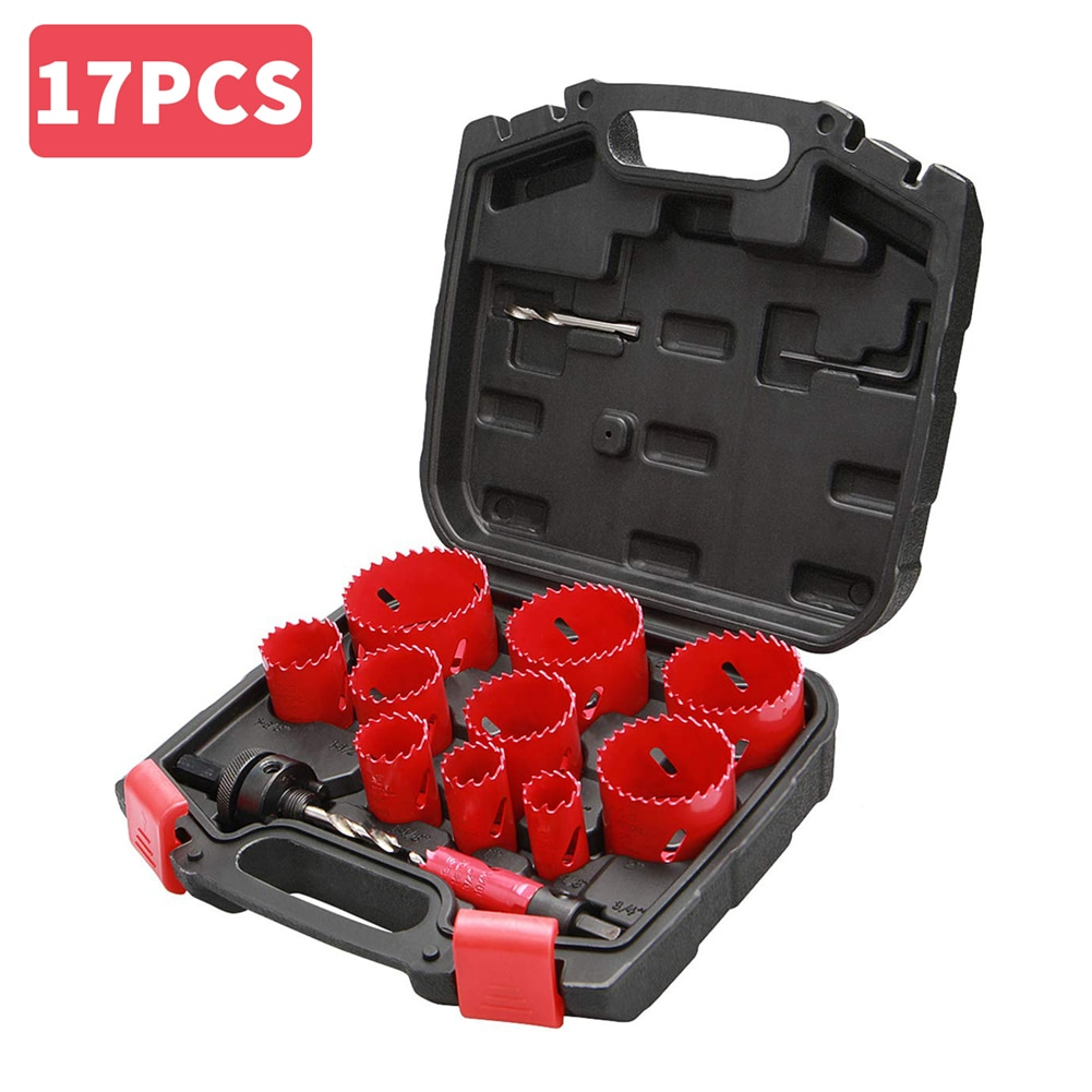 17/19PCS Bi-Metal Hole Saw Drilling Kit Durable High Speed Steel with Mandrel Drill Bit Case for Cutting Power Metal Holes Tools