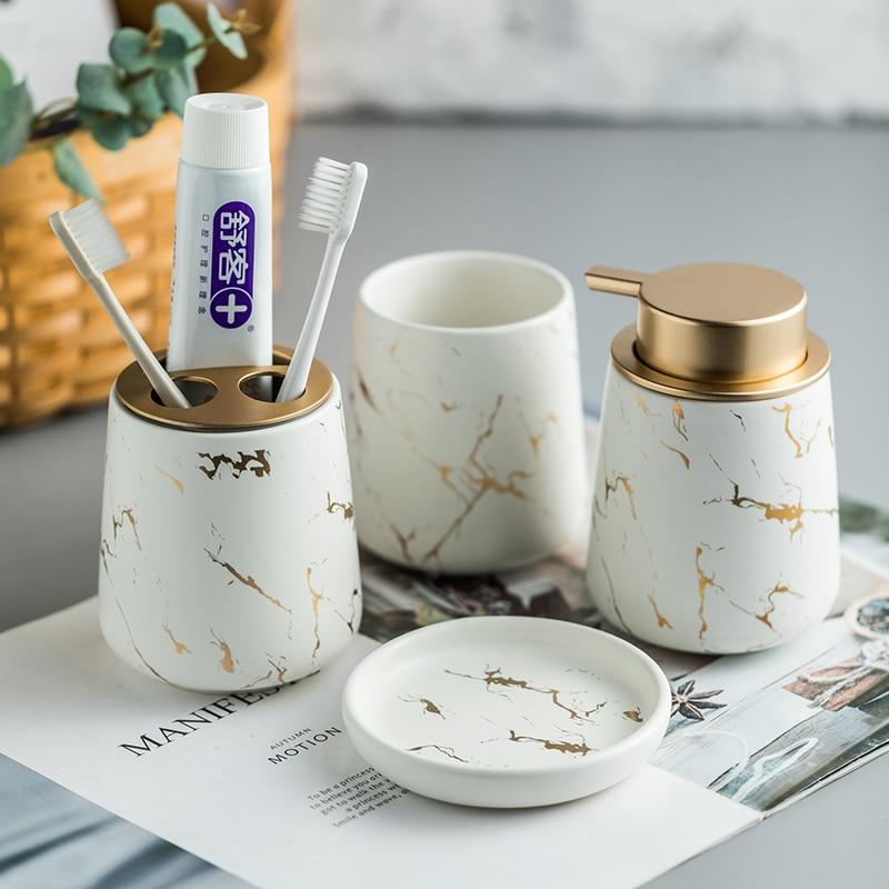 Keramik Bad Suite Zahnbürste Tasse Zahnbürste Halter Tablett Seifenschale Gurgeln Tasse 4-stück Set Haushalts Artikel