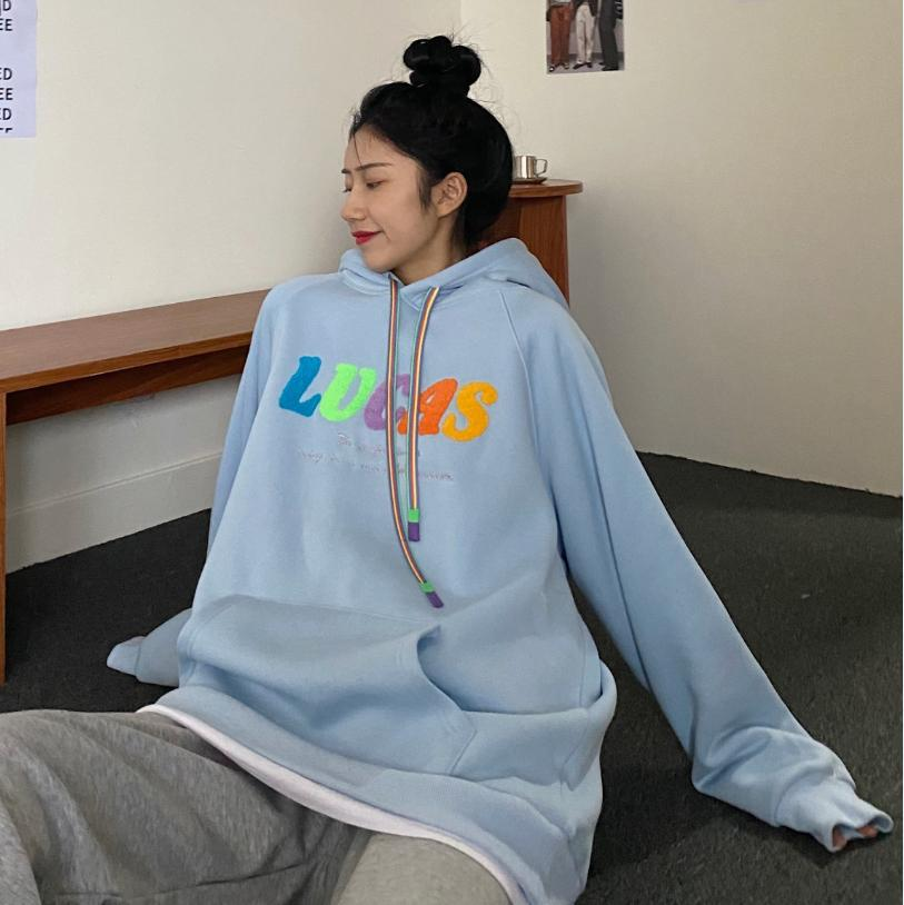 Autumn/Winter Oversized Casual Embroidered Letters Plus Velvet Thick Loose Hoodie Pullover Sweatshirt женские свитера