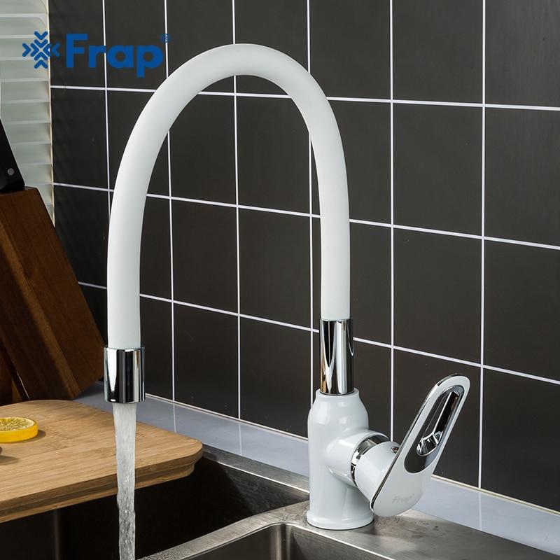 Frap torneira da pia cozinha sílica gel nariz puxar para baixo torneira da cozinha misturador de água fria e quente deck montado f4049