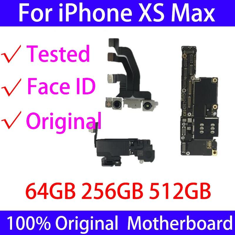 ICloud مجاني أصلي لهاتف iPhone Xs Max اللوحة الأم 64GB 256GB 512GB مع/بدون هوية وجه لوحة testedLogic مفتوحة مع نظام IOS