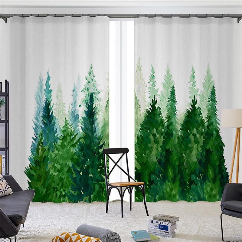 Cortinas Blackout personalizado media sombra Impresión Digital hoja verde bosque térmico aislamiento ventana cortina para sala de estar dormitorio