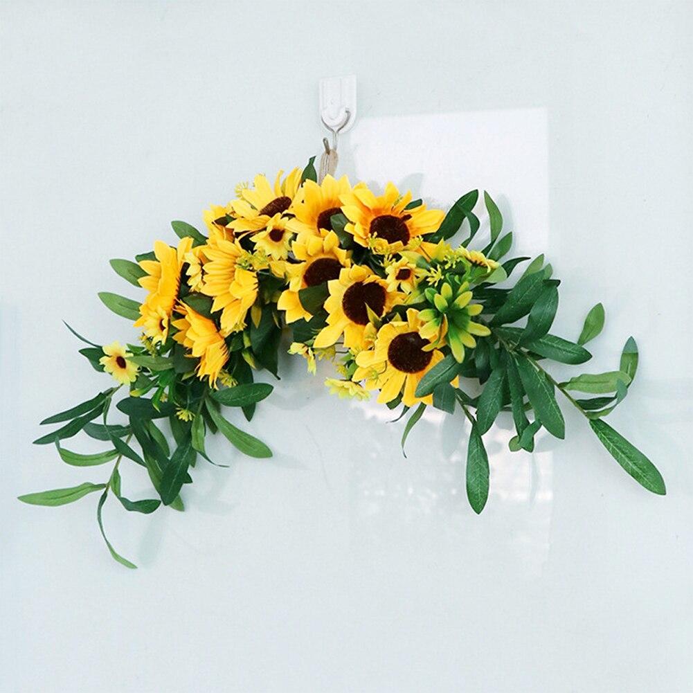 Guirnalda Floral decorativa de girasol Artificial con hojas verdes, guirnalda colgante de rama para decoración para puerta y pared de boda