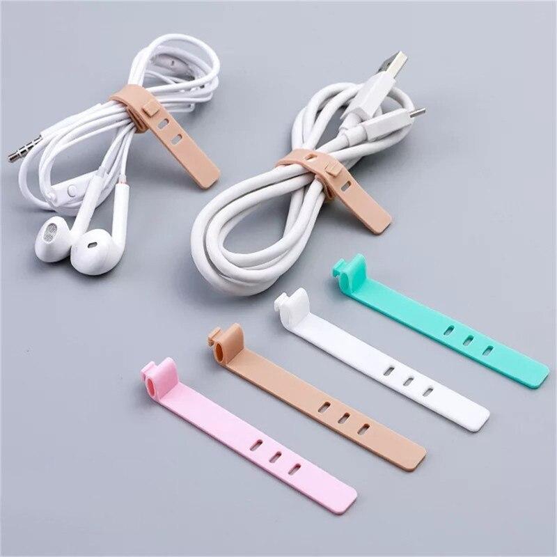 Enrollador de Cable multifunción 4 Uds para iPhone Samsung auricular MP4 organizador de Cable de silicona Cable envuelto línea soporte de almacenamiento