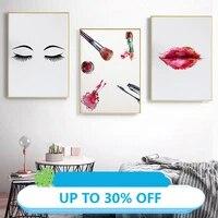 Toile de decoration de noel  peinture  affiche de mode  decoration de Salon  boutique  outils de maquillage  cils  tableau dart mural  decor de maison