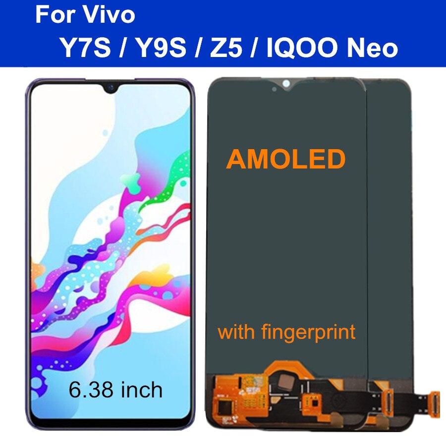 6.38 AMOLED LCD Para Vivo Y7S Z5 Y9s y7s lcd Substituir LCD Screen Display Toque Digitador Assembléia Para vivo IQOO exibição NEO