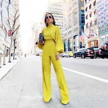 FNOCE Cross-border Trade Sexy Wide Leg Pants Solid Color Casual Long-sleeved High-necked Halter Piec