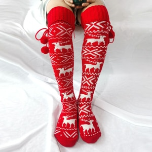Women Knitted High Over The Knee Socks Lady Lovely Warm Comfortable Thick Long Socks Winter Christmas Stockings Gifts