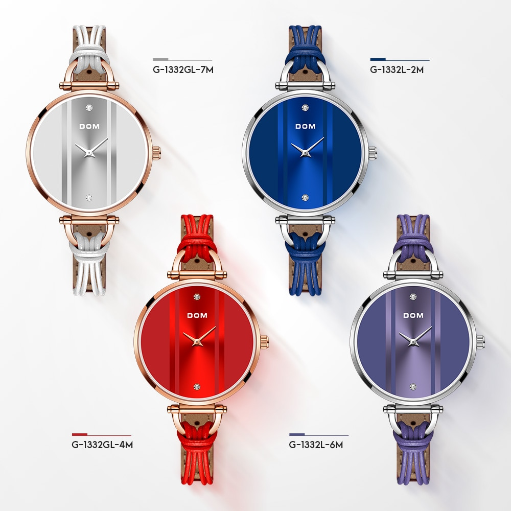 DOM Fashionable Simple Leisure Swimming Waterproof Women's Watch Watch Girl Watch Leather Quartz Watch G-1332 enlarge