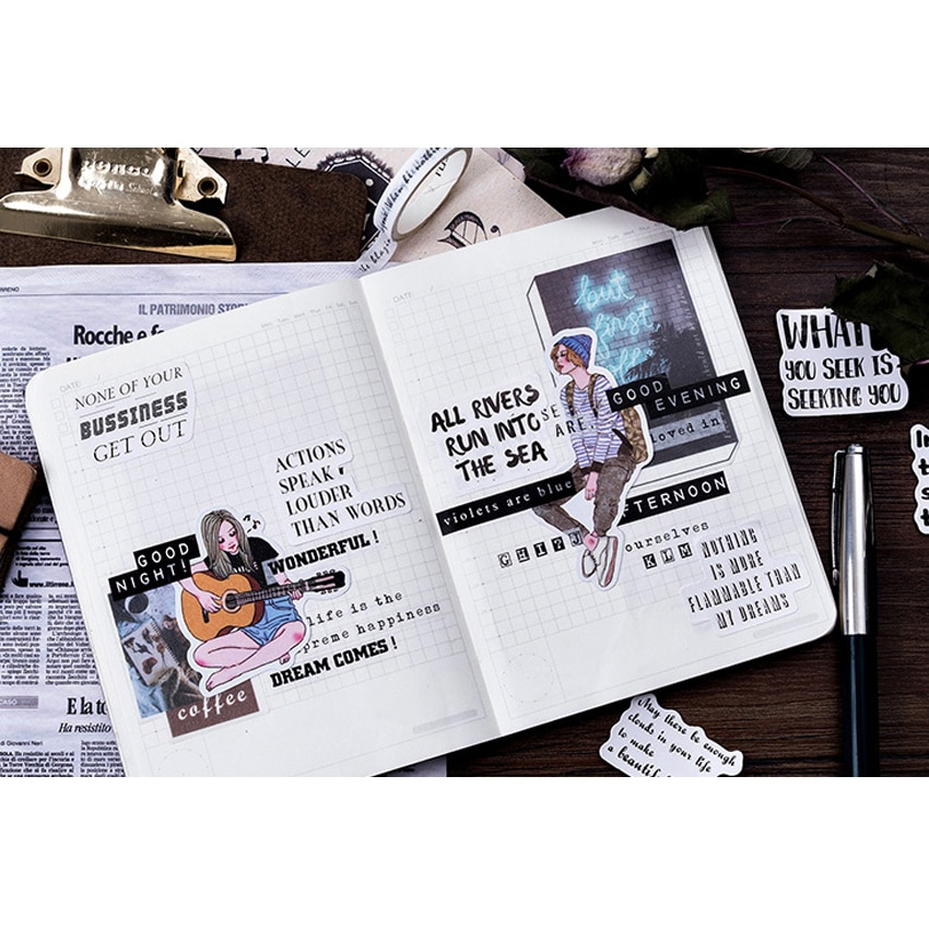frete gratis 56 caixas de jornal ingles do vintage encaixotado adesivo washi etiqueta