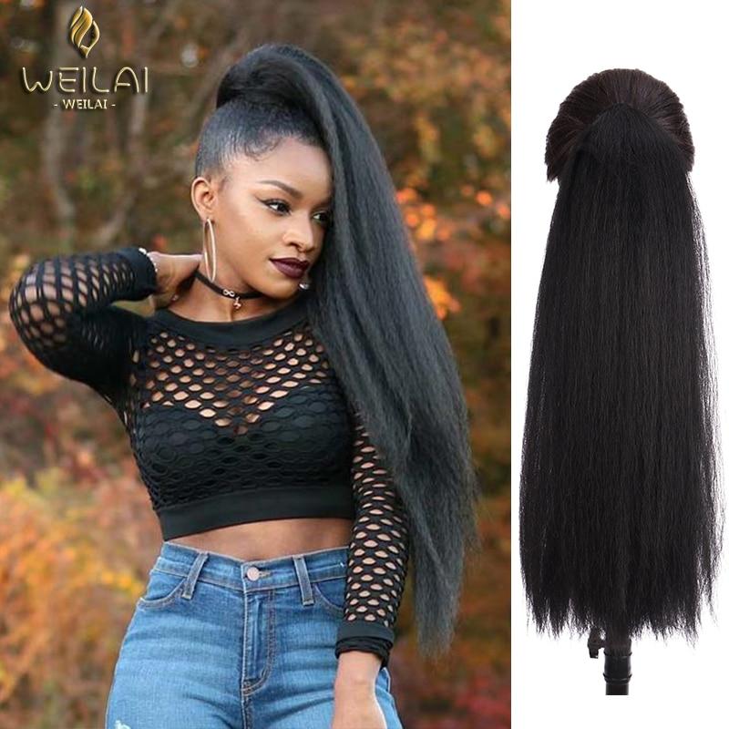 WEILAI Chignon афро слоеный кудрявый парик конский хвост шнурок длинный афро кудрявый зажим в синтетических кудрявых волос пучок