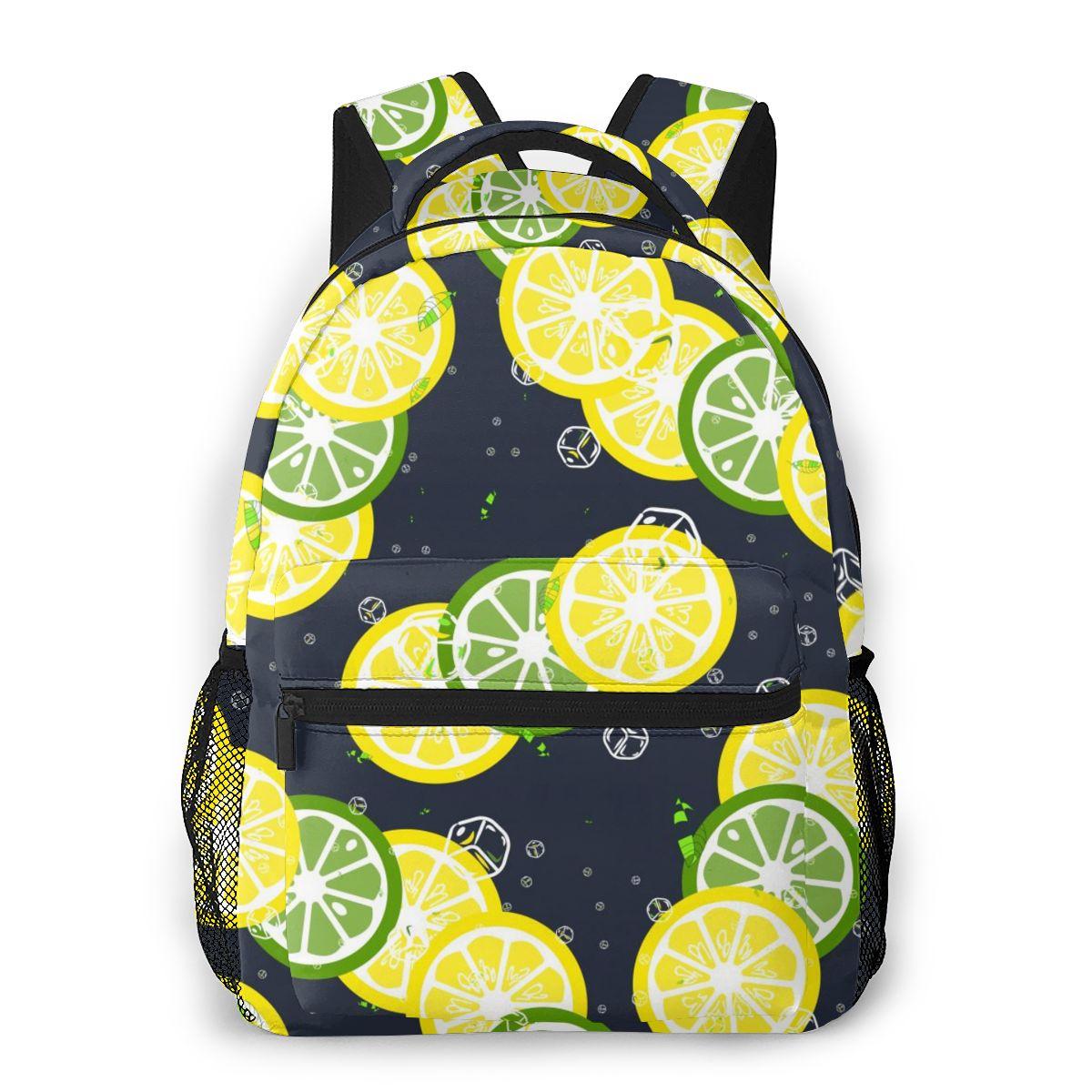 2020 neue Rucksack Zitrone Kalk Eiswürfel Und Mint Blätter Schule Tasche Männer Rucksack Reise Daypacks Männlichen Freizeit Rucksack Frauen gril