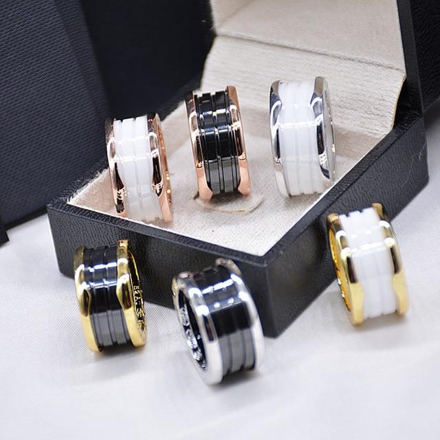 Горячее предложение, фирменное белое черное керамическое кольцо для женщин и мужчин, титановая сталь, Весенние Свадебные реплики колец, ювелирные изделия для пар 5-12
