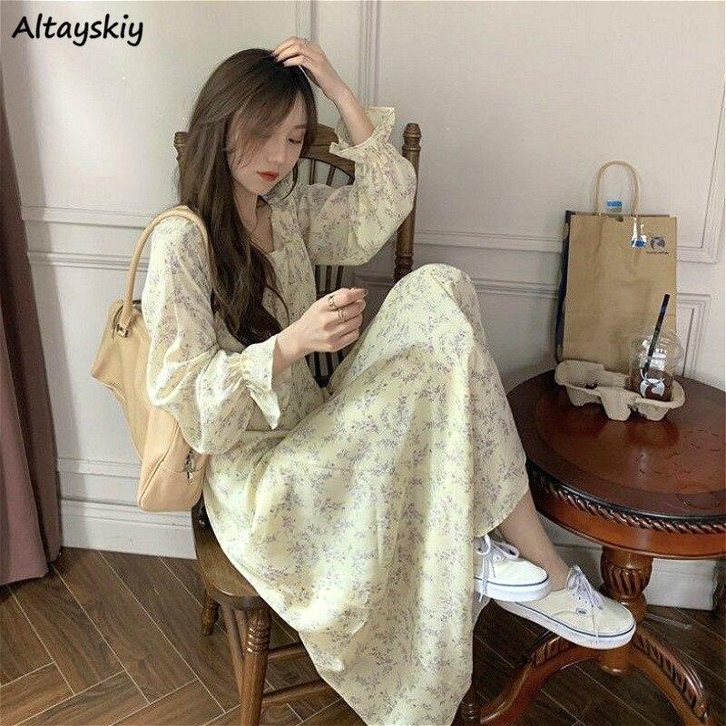 Autumn Dress Women Retro French Style Floral Chic Empire Holiday Popular Female Long Dresses Chic Slim Vintage Ladies Vestido