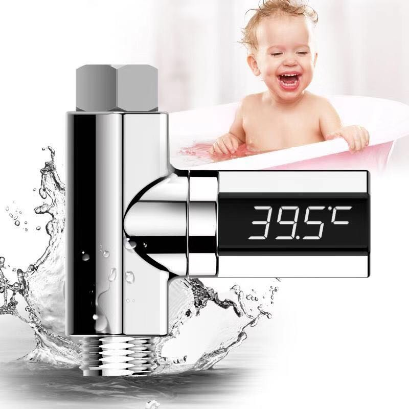 LED Display Home Water Shower Thermometer Flow Self-Generating Electricity Meter Monitor for Baby Care Washing Faucet Extender