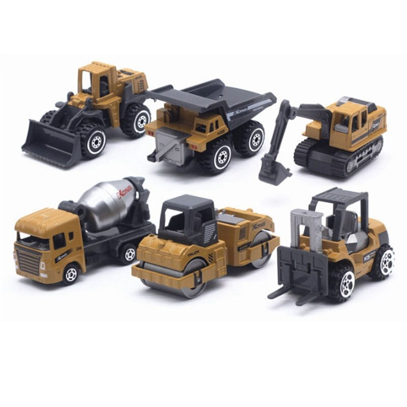 6Pcs/Set 1:64 Alloy Engineering Vehicle Mini Excavator Forklift Model Cars Toy Set Collections Gift for Children Kids недорого