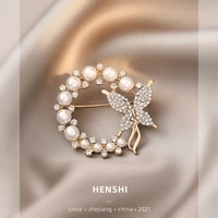 elegant fashion korean diamond lovely pearl butterfly brooch high grade silk scarf buckle clothing accessories for women jewelry